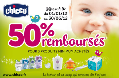 Promotion Chicco 50% remboursés sur la gamme puériculture