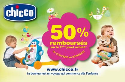 Promotion Chicco 50% remboursés sur le deuxième jouet acheté