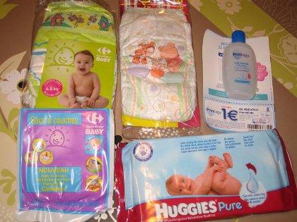 Exemple de contenu du panier bébé cadeau Carrefour