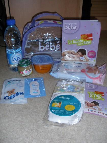 Exemple de contenu du panier cadeau bébé Intermarché