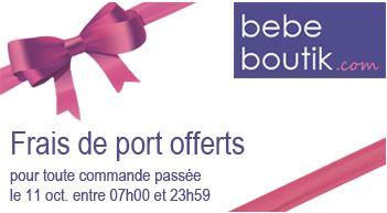 Frais de ports offert le 11 octobre 2012  chez Bebeboutik