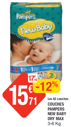 Couches pampers taille 2 en promotion