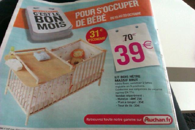Promotion lit bébé et table à langer octobre 2012 chez Auchan